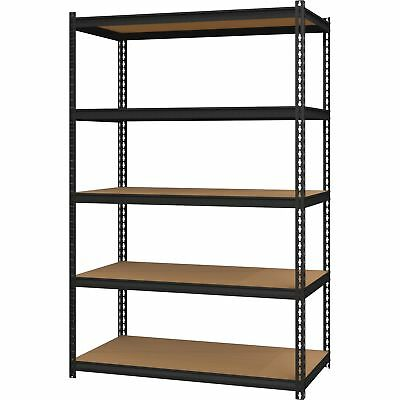 "Hirsh 5-Shelf Steel Shelving Unit 24""x48""x72"" Black 20994"