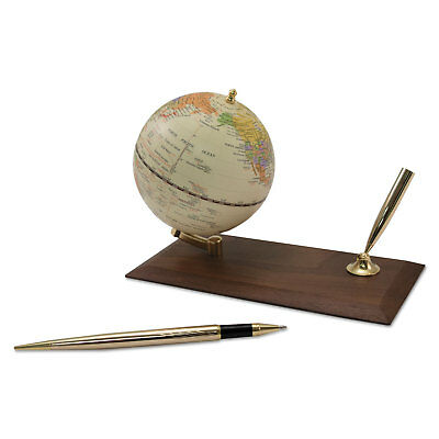 "Advantus Ivory Globe Holder with Pen Stand 3 7/8"" Diameter Walnut Base/Gold"