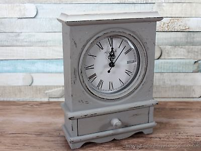 Shabby chic Small grey mantel clock with drawer