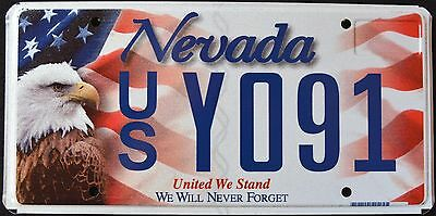 """NEVADA """" UNITED WE STAND """" 9/11 - EAGLE - FLAG - MINT NV Specialty License Plate"""