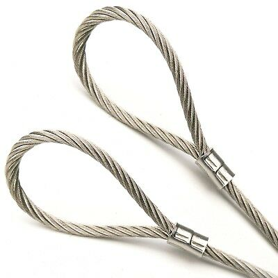 """1ft-70ft Stainless Steel Cable Rope 7x19 1/8"""" - 3/16"""" Vinyl Coat w/ Loop Options"""