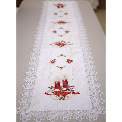 Long Christmas Lace Embroidery Candle Bell Table Runner Home Decoration 38x175cm