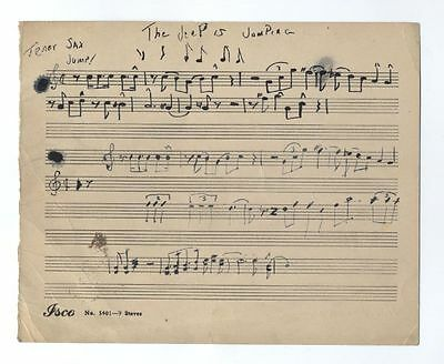 John Coltrane~The Jeep Is Jumping ~Insanely Rare Orig Manuscript With Drawing!!!