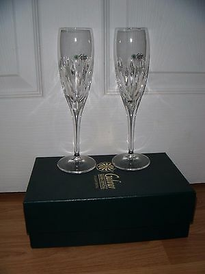 Pair (2) Galway Crystal Raindrops Champagne Flutes ~ BNIB ~ BOXED ~ BRAND NEW
