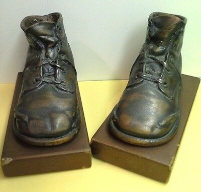 Sweet Set of Vintage BRONZED BABY SHOES BOOTS BOOKENDS.