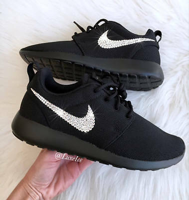 60134eff9a8da Bling Nike Roshe One Black customized with SWAROVSKI® Xirius Rose-Cut  Crystals.