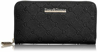Pinky & Dianne Safiano Embossed Round Purse (Black) From Japan F/S