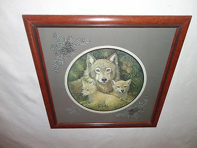 Home Interiors ''Mother Wolf & Pups '' Picture  Gorgeous 17'' x 17''
