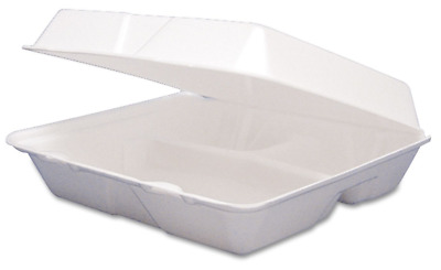 3 Section Take Out Containers 200 pk Large Foam Clamshell Hinged To Go Styrofoam
