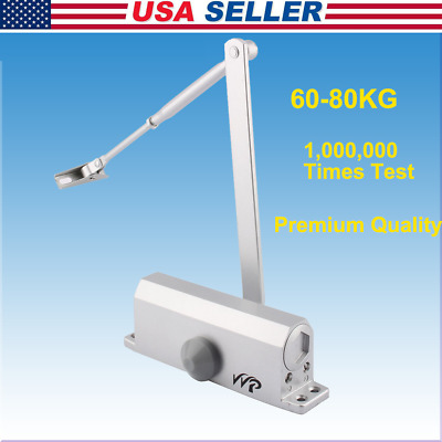 60-80KG Aluminum Commercial Door Closer Two Independent Valves Control Silver