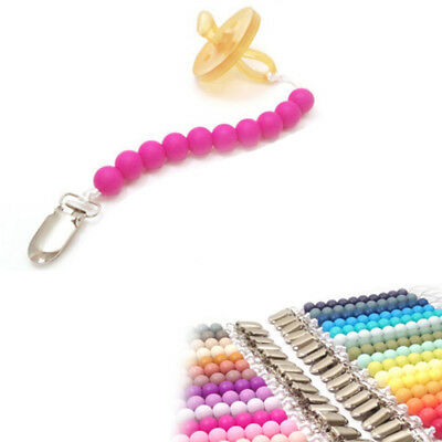 Baby Infant Teething Soother Pacifier Clip Beads Silicone Nipple Strap Chain