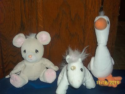 Enesco Precious Moments Tender Tails Beanie Babies Baby Plush Lot Of 3 Mouse