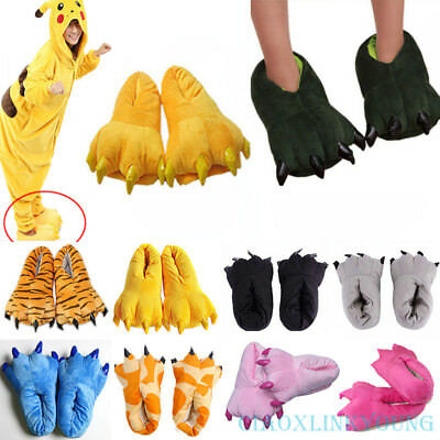 Cartoon Animal Slippers Adults Kids Paw Claw Shoes Home Indoor Plush Warm Flats