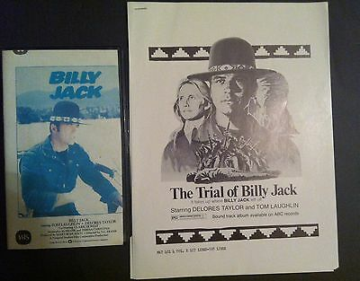 The Trial of BILLY JACK Pressbook (1974) With Gift, Billy Jack (VHS Tape) 1984