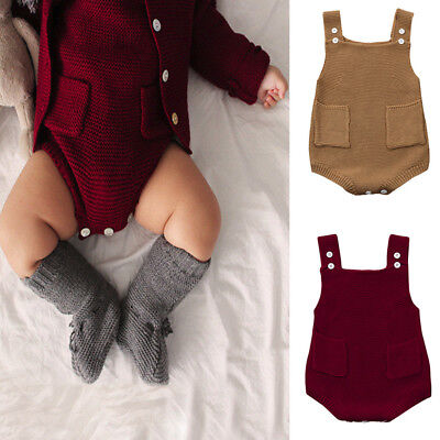 Toddler Newborn Baby Girls Solid Knitted Pocket Jumpsuit Clothes Romper Outfit
