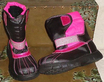 The Children's Place Black Pink Snow Boots Size 1 Kids Girls