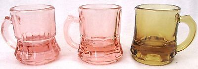 3 Depression Glass Miniature Beer Mugs Steins Pink Amber Federal Candy Scoops