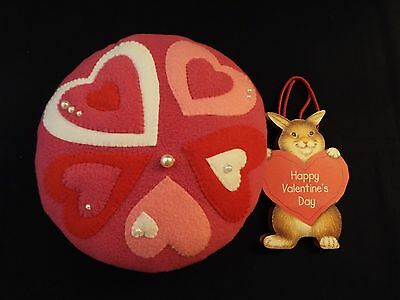 NEW valentine's day fleece round pillow & bunny gift bag-hand-stitched-hearts