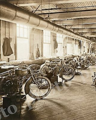 Vtg 1918 Historic Indian Motorcycle Photo Manufactured at Springfield Mass,
