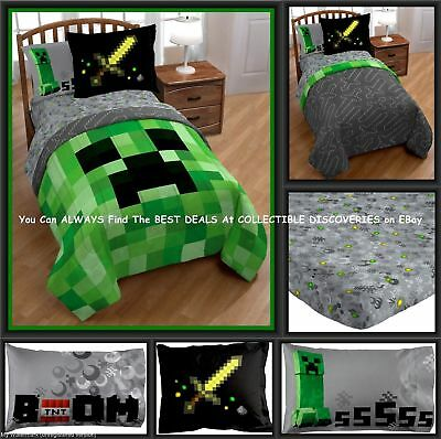 Minecraft Bedding Set Twin Bed In A Bag W Comforter 3pc Sheet Set