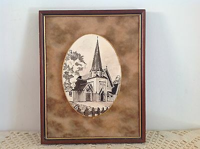 Audrey Garrett 1976 Signed Painted Ceramic Plaque - Old St Pauls, Wellington Nz