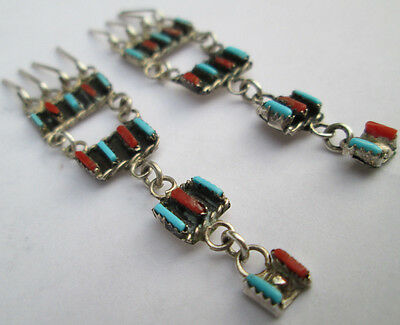 OLD ZUNI SIGNED Silver RED CORAL TURQUOISE Petit Point Earrings