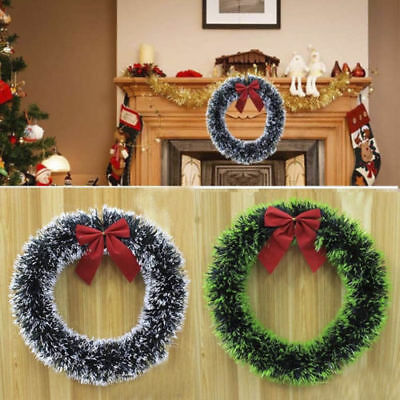35cm Christmas Wreath Garland w/ Bow Door Wall Home Hanging Decorations For Xmas