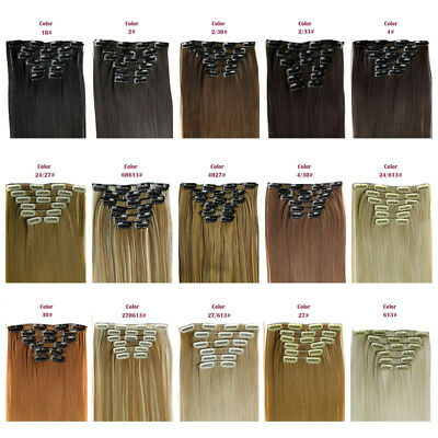 100% Full Head Human Hair Clip in Hot Straight Extensions Real Luxury