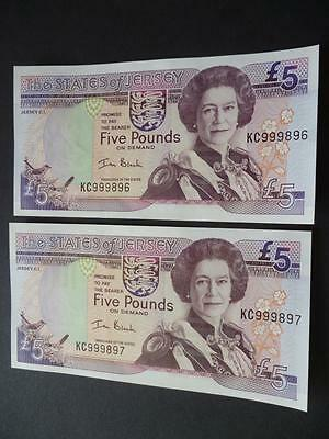 A Pair Of Jersey Five Pound Notes,  Mint Uncirculated £5 Notes Ian Black.