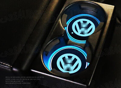 2× VW Colorful LED Car Cup Holder Pad Mat for VOLKSWAGEN Auto Atmosphere Lights