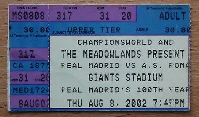 Tickets Real Madrid - AS Roma Italy 2002 from USA