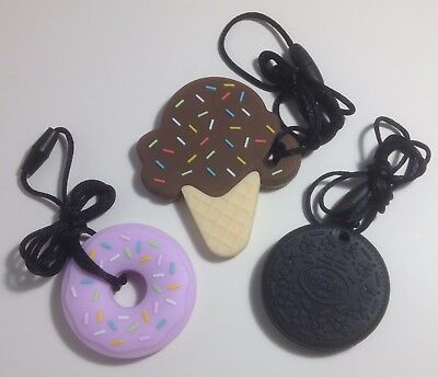 Sensory Chew Necklace Different Designs/Cols Autism Special Needs ADHD Fidget
