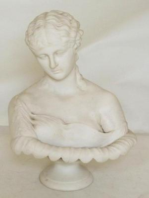 19th century Parian Ware Bust of Clytie on plinth Copeland 1800's
