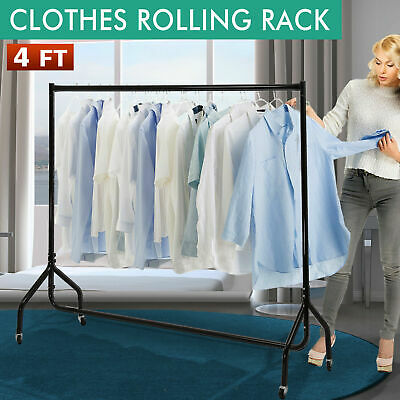 4 FT Clothes Rack Metal Garment Display Rolling Portable Rail Hanger Dryer Stand