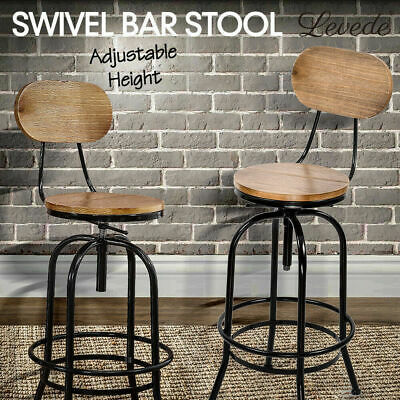 Retro Vintage Bar Stool Wooden Barstools Industrial Dining Chair Kitchen Swivel