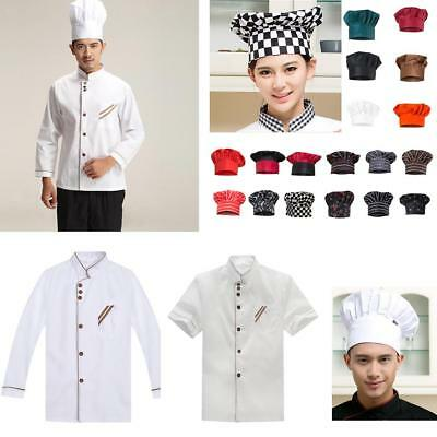 Chefs Jacket Chef Hat Long/ Short Sleeve Kitchen Catering Cooks Workwear Uniform