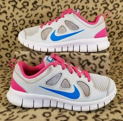 Nike Free 5.0 Kids Youth Girls Running Shoes Size 1Y Pink Gray Blue 580594 046
