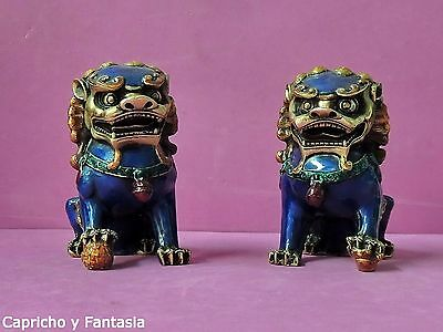 Chinese cloisonne Lions (foo dogs) nº 767