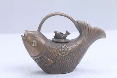 Collection Chinese Hand carving bring wealth fish brass teapot KANGXI mark