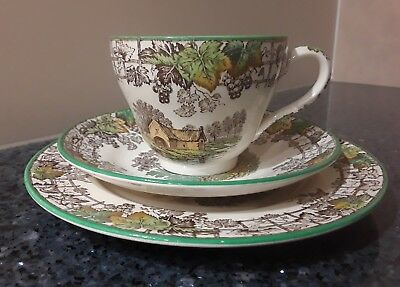 Spode Byron Green Cup, Saucer, Plate Trio Set  Made in England
