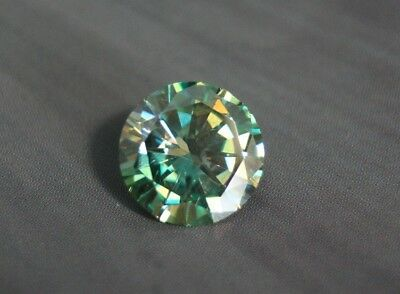 4.7ct Teal Moissanite - Beautiful Large Precision Cut Gem - Sea Green/Blue