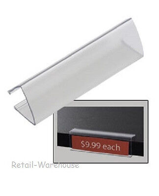 "Wood Shelf Label Holder 60 Acrylic Clear Tags Ticket Holds 7/8"" x 3 1/8""L Labels"