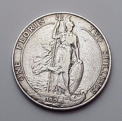 Dated : 1904 - Silver Coin - Two Shillings / One Florin - King Edward VII