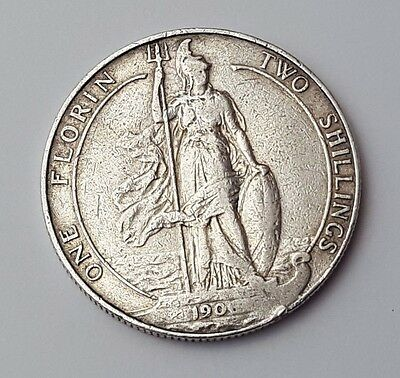 Dated : 1906 - Silver Coin - Two Shillings / One Florin - King Edward VII