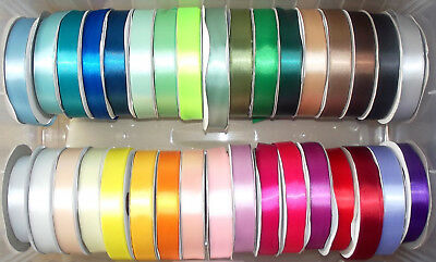 """Satin Ribbon Single Sided 12mm (1/2"""") wide 2 5 or 10m lengths Lots of Colours"""