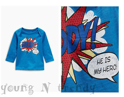 BNWT NEXT 9-12 months boys COTTON BLUE TOP *DADDY IS MY HERO!