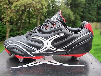 Gilbert S/ST ZENON  Lo 8 Stud SG Rugby Boots UK 7 - 13  BLACK RED  UNION