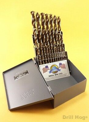 29 Pc Cobalt Drill Bit Set Twist M42 Round Shank Lifetime Warranty Drill Hog®