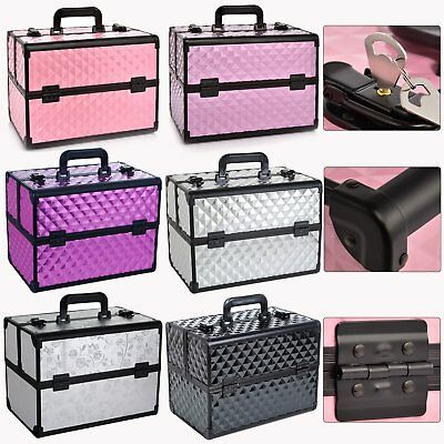 Luxury Extra Large Space Alu Beauty Make up Nail Tech Cosmetic Box Vanity Case