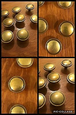 9 Knobs Pulls Round Antique Brass Tone Cabinet Drawer Bin Amerock Vintage